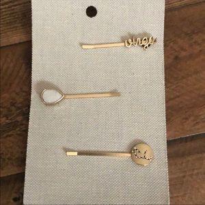 Anthropologie zodiac Bobby pin set of 3 - Virgo